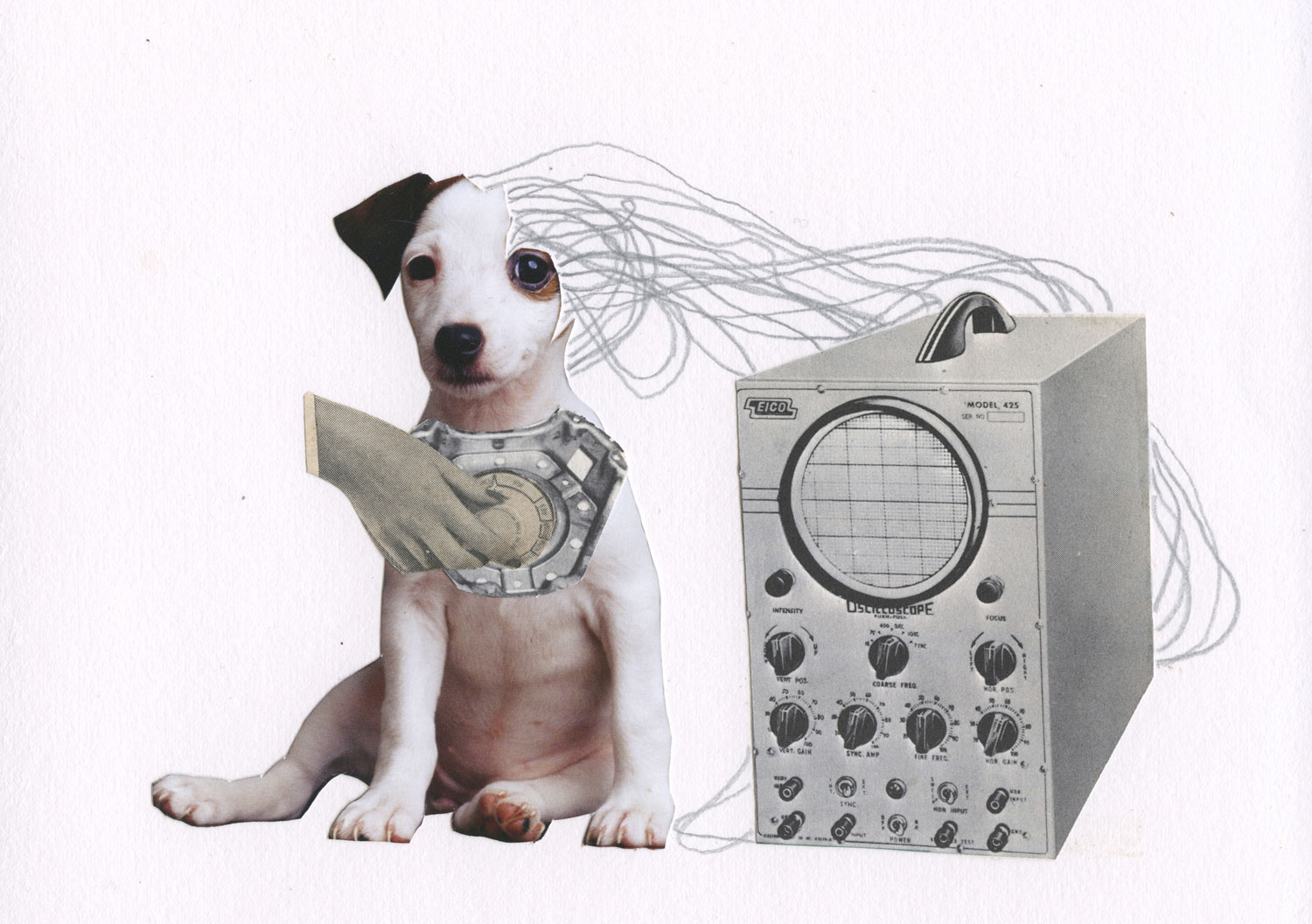 Maria Lux, Cyborg Dog, 2013. Collage, 4 x 6 in.