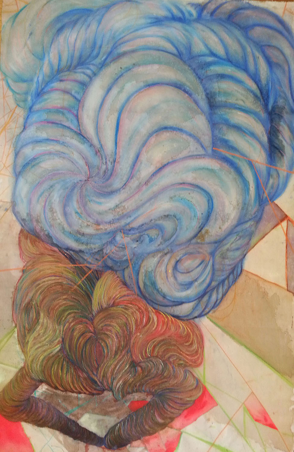 Rachel Joob, MyHeadintheClouds, 2013. Wine, coffee, chalk pastel, salt, sugar and acrylic paint on raw canvas, 53.5 x35.5 in.