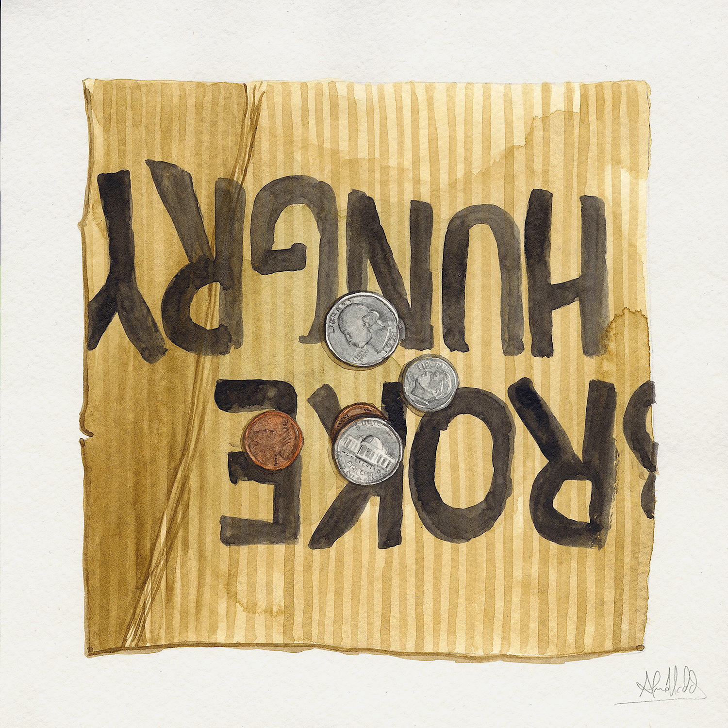 Alvaro Naddeo, Forty Two Cents, 2015. Watercolor on paper, 9 x 9 in.