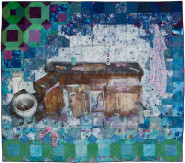 Jeana Eve Klein, Morning Routine, 2012. Mixed media quilt (Digital printing, acrylic paint and dye on recycled fabric; machine-pieced and hand-quilted), 54 x 61 in.