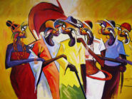 Lawani Sunday, Unity in diversity, 2015. Acrylic on Canvas, 43 x 60 in.