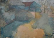 Nhat Anh Nguyen Dinh, <em>View of a Vietnamese Village</em>, 2017, oil on canvas, 5x7 in