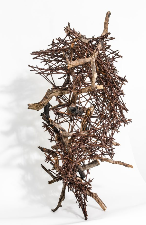 "Ray Crest, 2018, Sculpture, Pinewood, Willow, H 55"" x W-40"" x D- 35"""
