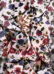 "Morgan Stephenson, <em>Gein's Garden</em>, 2018, Archival Image on Linen Blouse Digital Collage on Cotton Sateen Fabric, 20"" x 15"""