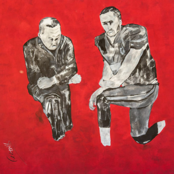 "Lyle Rushing, Knees, 2018, Acrylic on Canvas, 36"" x 36"""