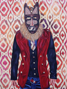 Alea Hurst, <em>The Mover and Shaker<em>, 2014. Oil on fabric, 30 x 24 in.