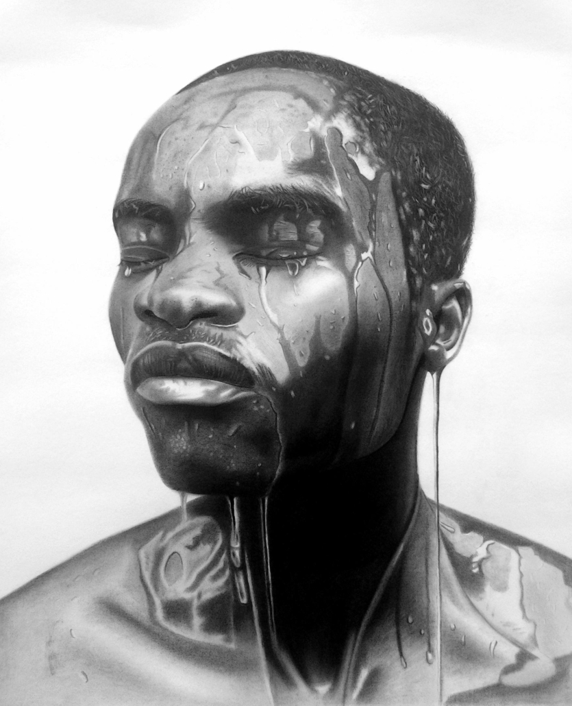 Famous Umobuarie, 1975 II, 2019, Graphite and Charcoal, 29 inches x 25 inches